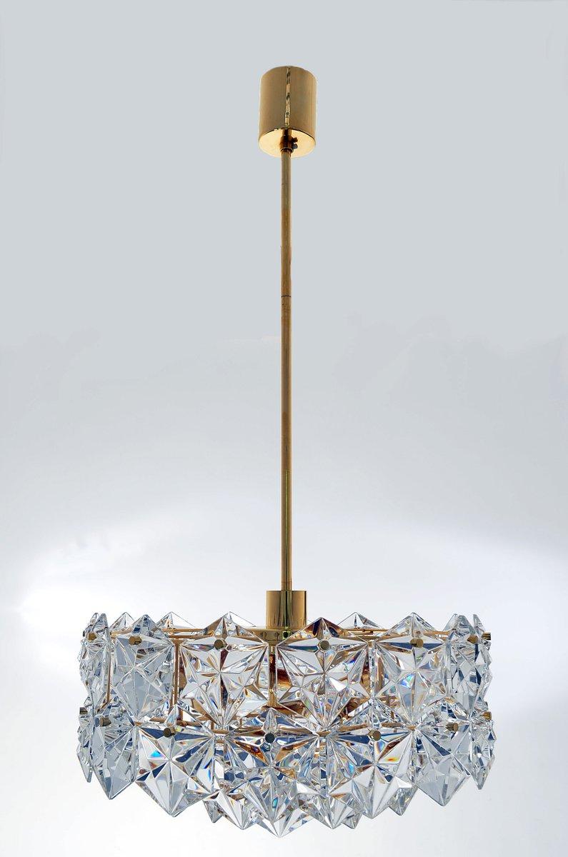 dreistufige h ngelampe mit 46 facettierten kristallen und vergoldetem messing von kinkeldey. Black Bedroom Furniture Sets. Home Design Ideas