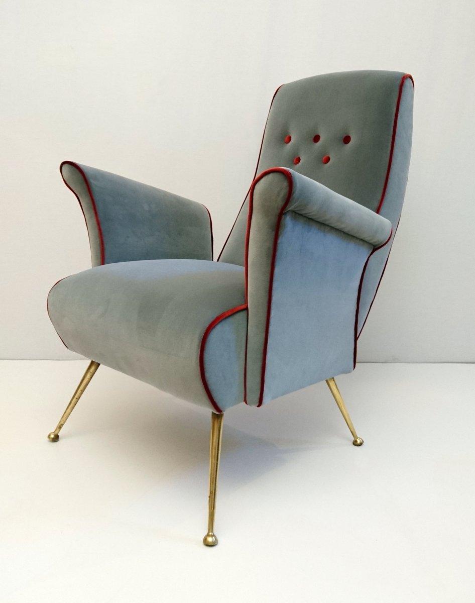 italienischer mid century sessel mit samtbezug kegelbeinen bei pamono kaufen. Black Bedroom Furniture Sets. Home Design Ideas