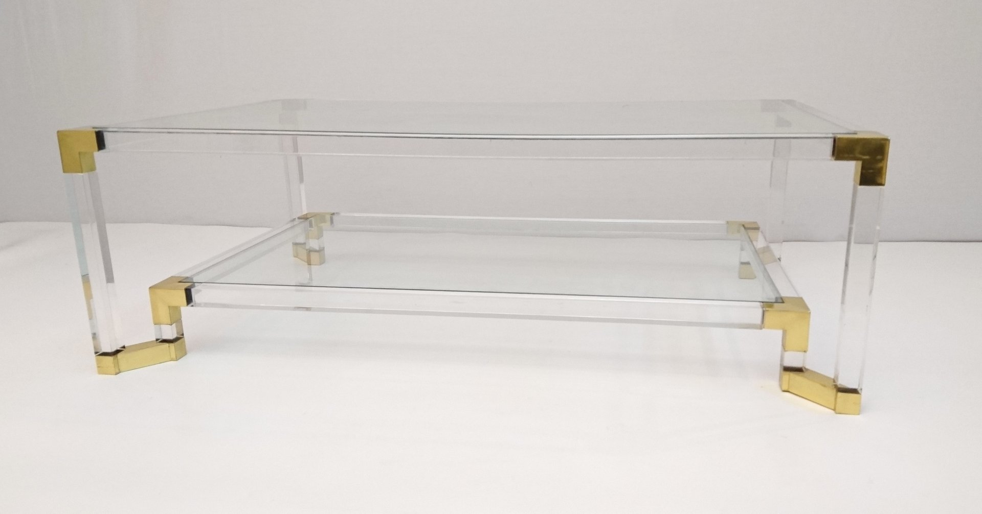 Vintage Lucite And Brass Two Tiered Coffee Table