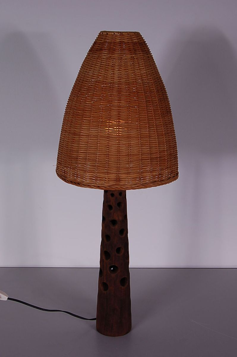 Vintage Wooden Table Lamp With Wicker Shade, 1960s