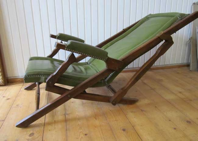 Military Leather Folding Lounge Chair 1900 For Sale At Pamono