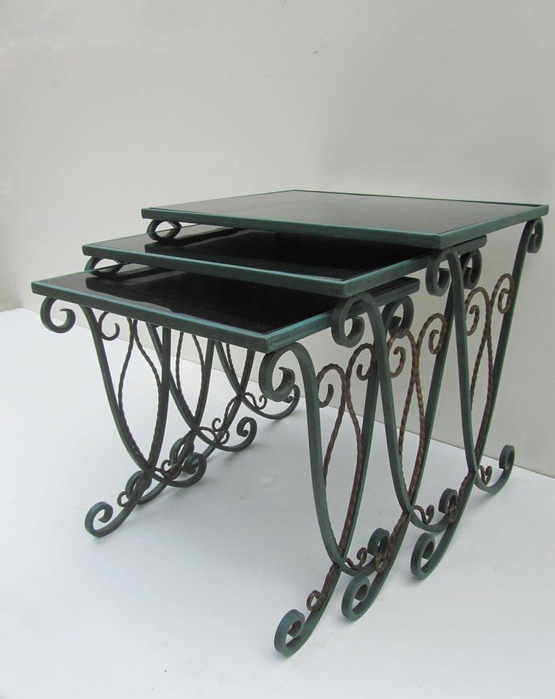 French Wrought Iron Nesting Tables Set of 3 & French Wrought Iron Nesting Tables Set of 3 for sale at Pamono