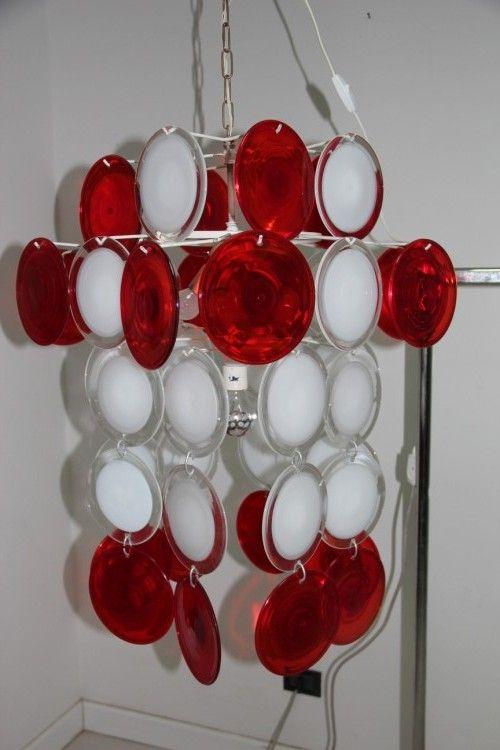 rot wei er kronleuchter von vistosi 1960 bei pamono kaufen. Black Bedroom Furniture Sets. Home Design Ideas