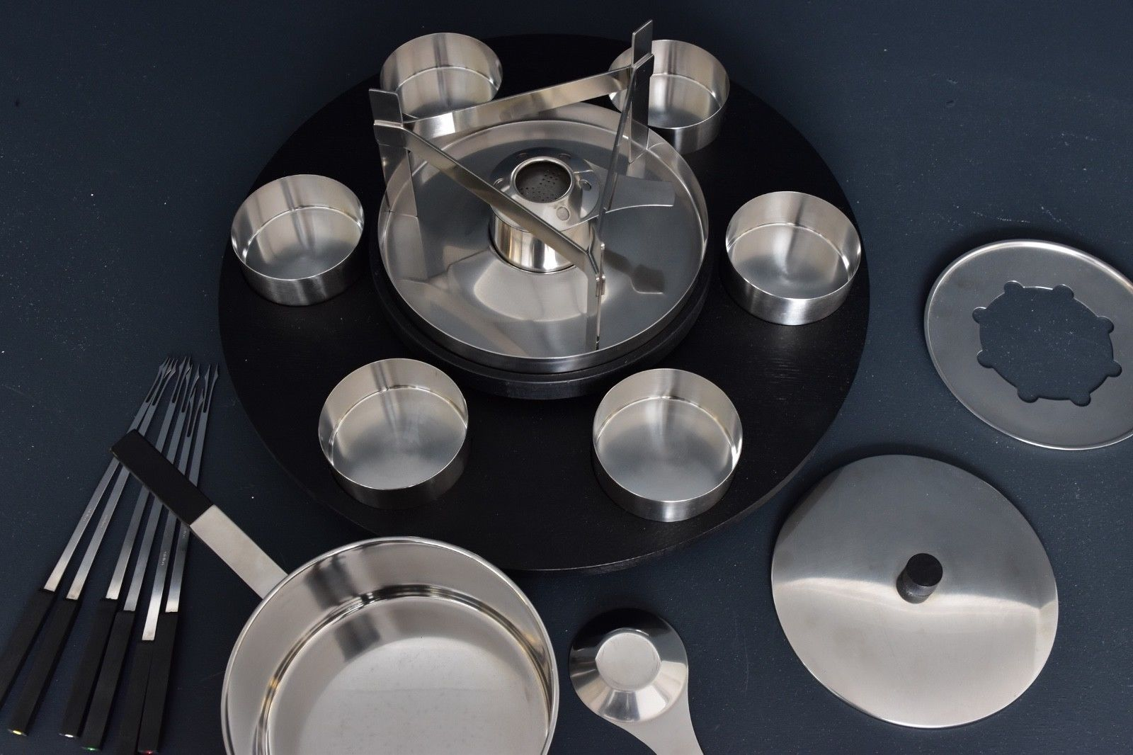 lazy susan fondue set by peter holmblad for stelton with. Black Bedroom Furniture Sets. Home Design Ideas