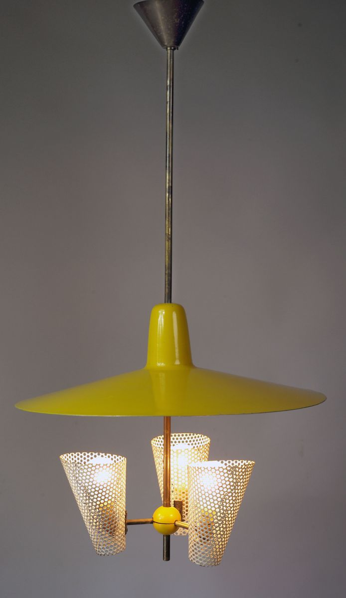 Vintage suspension lamp 1950s for sale at pamono for Suspension a 3 lampes
