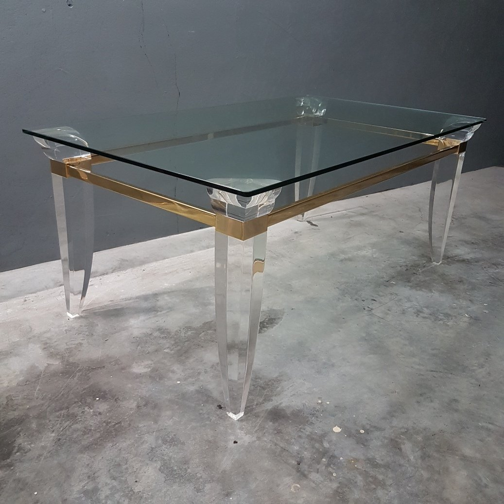 Lucite, Glass, And Gold Plated Metal Coffee Table, 1980s