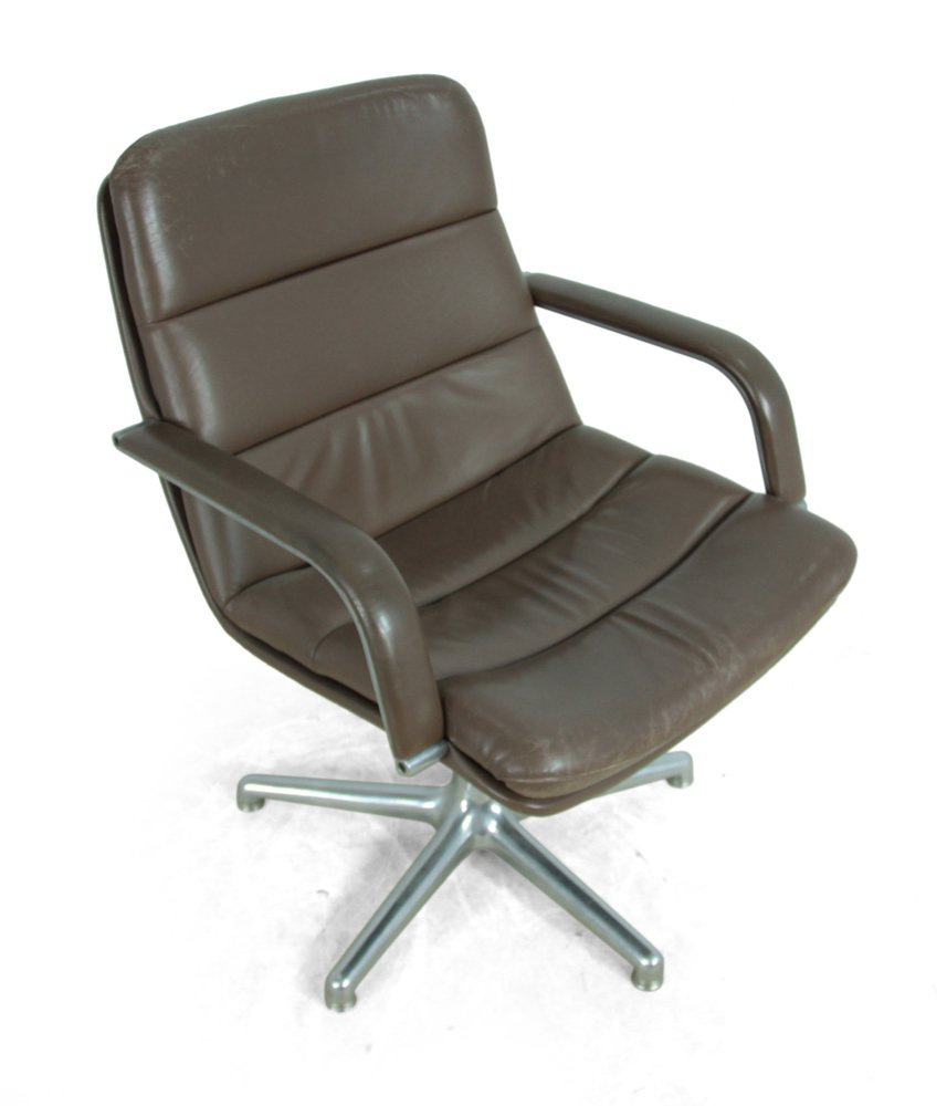 - Vintage Leather & Aluminium Desk Chair From Artifort For Sale At Pamono