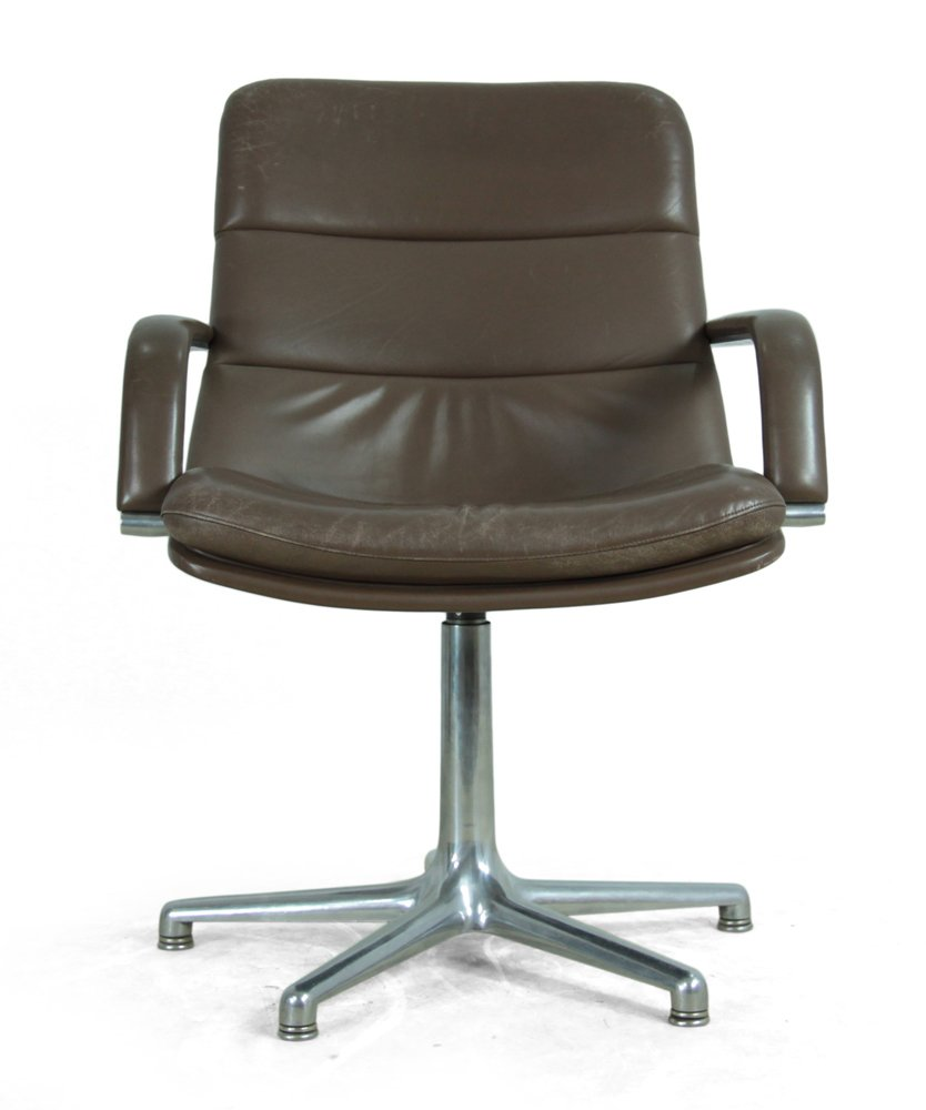 vintage leather aluminium desk chair from artifort for. Black Bedroom Furniture Sets. Home Design Ideas