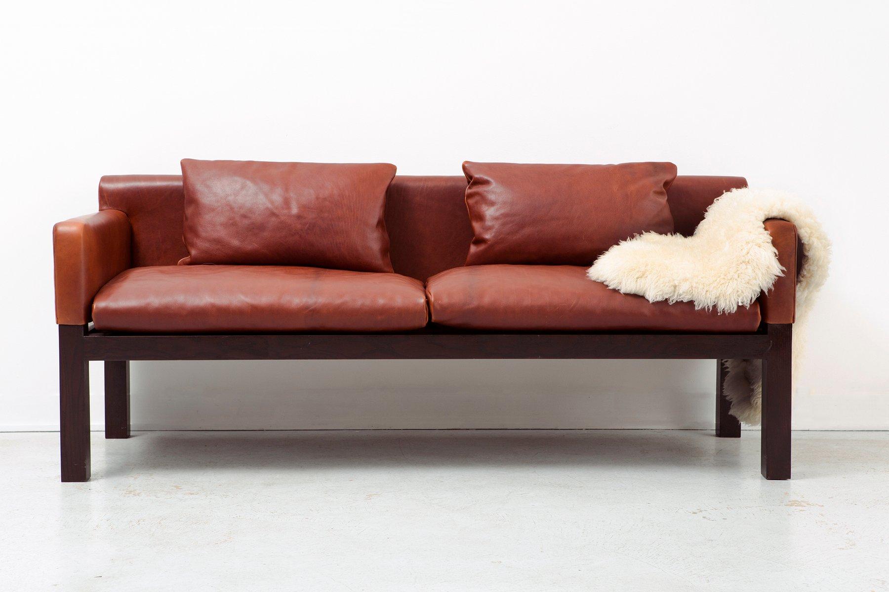 leather sofa by john saladino for dunbar  1960s for sale