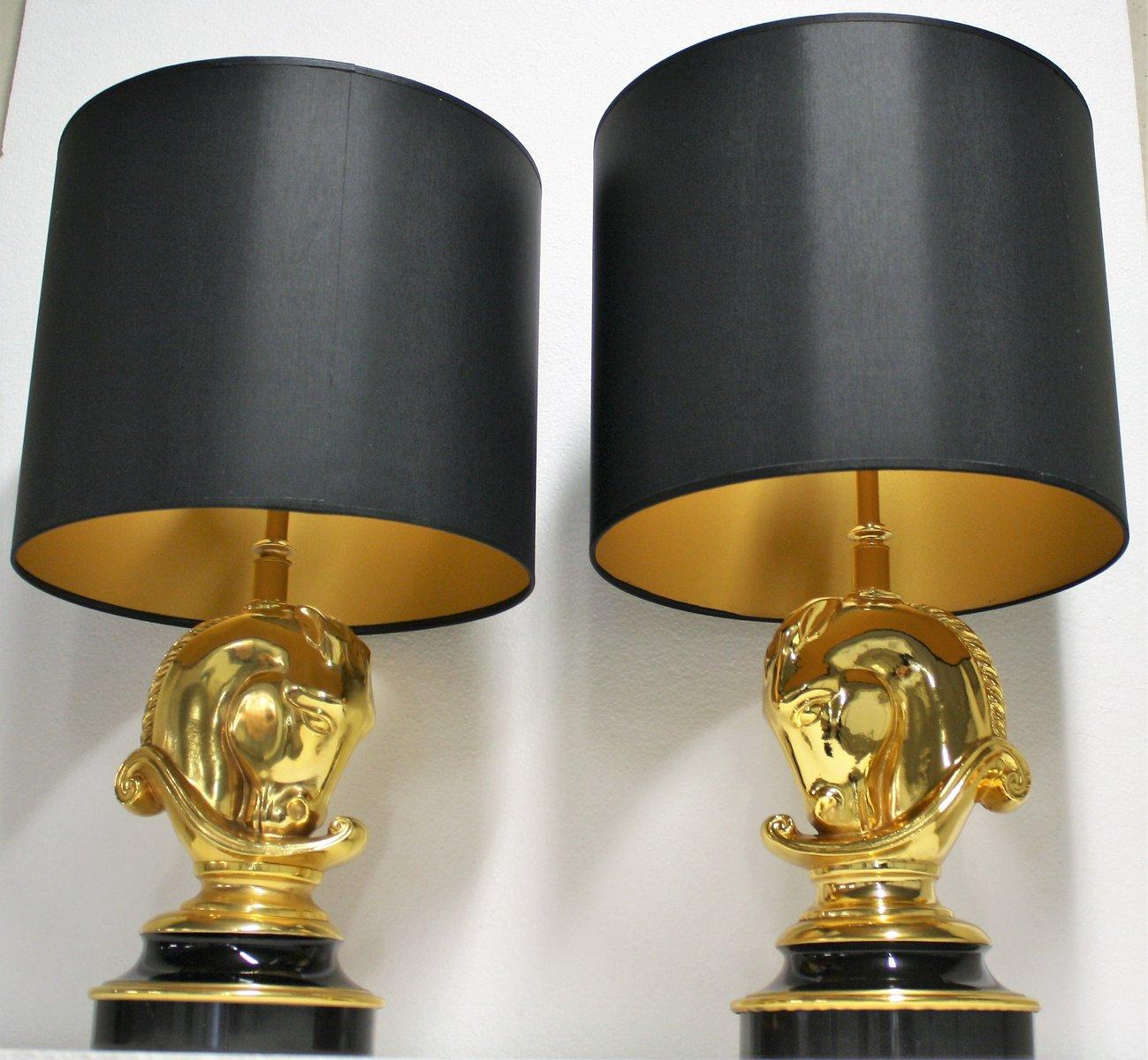 Hollywood Regency Brass Horse Head Table Lamps From Deknudt, 1970s, Set Of 2