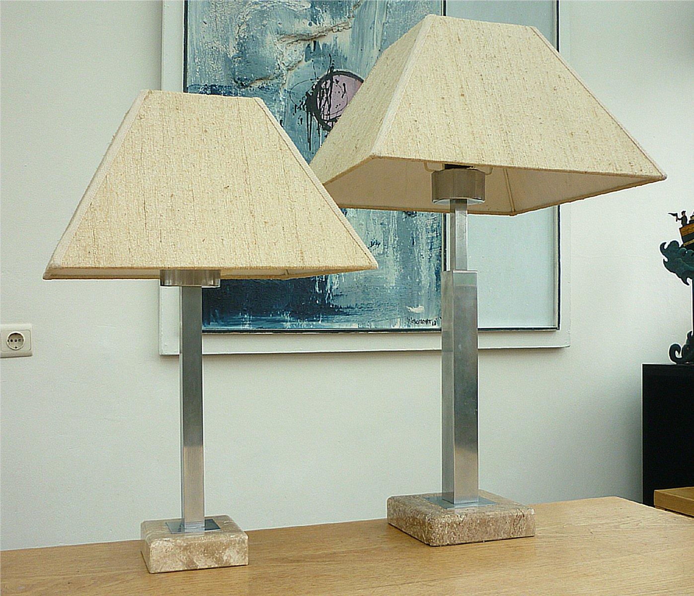 Marmor stahl lampen von maison jansen 2er set bei for Lampen niederlande