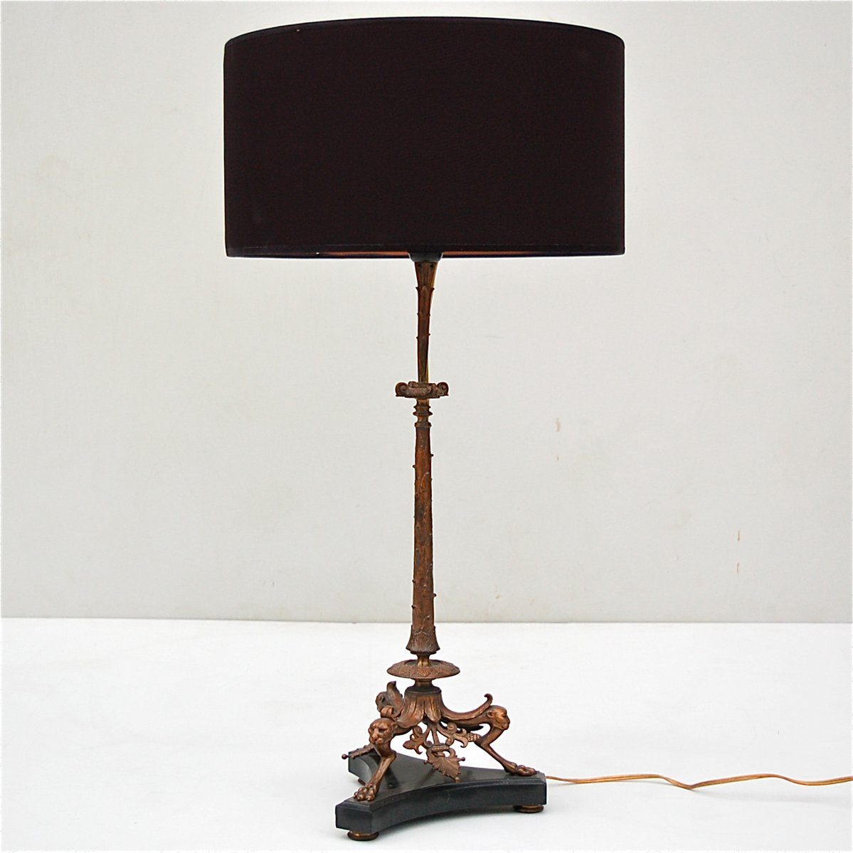 Lovely Bronze Table Lamp With Panther Heads On Black Marble Base, 19th Century For  Sale At Pamono