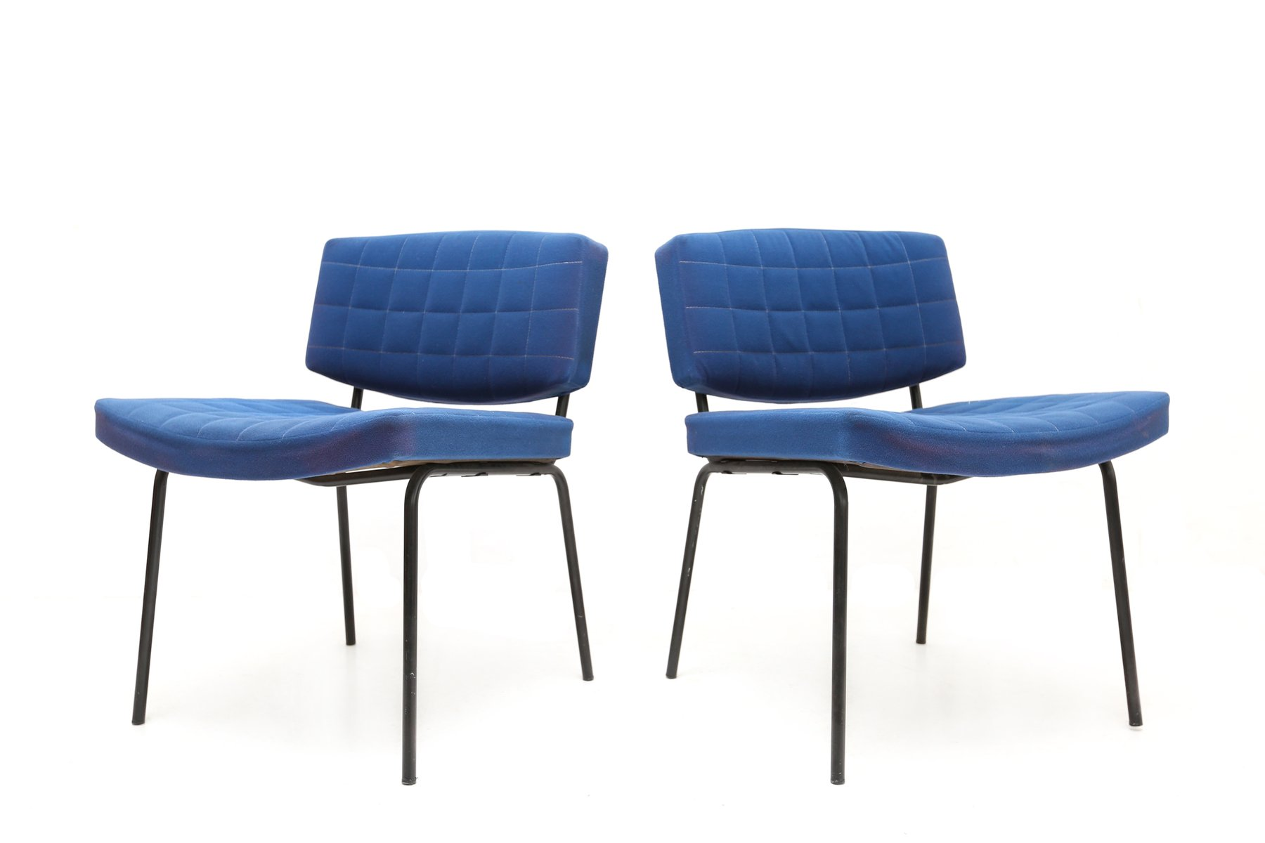 royal blue chairs by pierre guariche for meurop 1950s set of 2