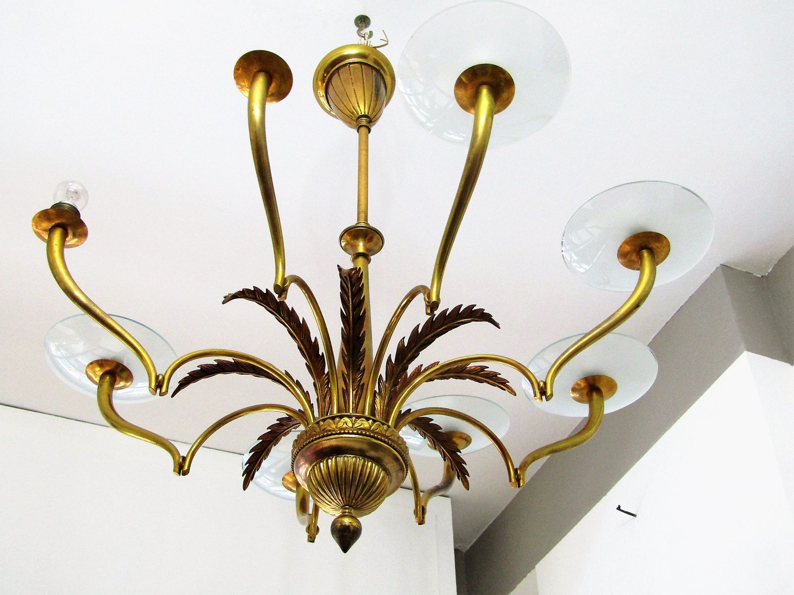 Italian glass disks chandelier 1930s for sale at pamono mozeypictures Gallery