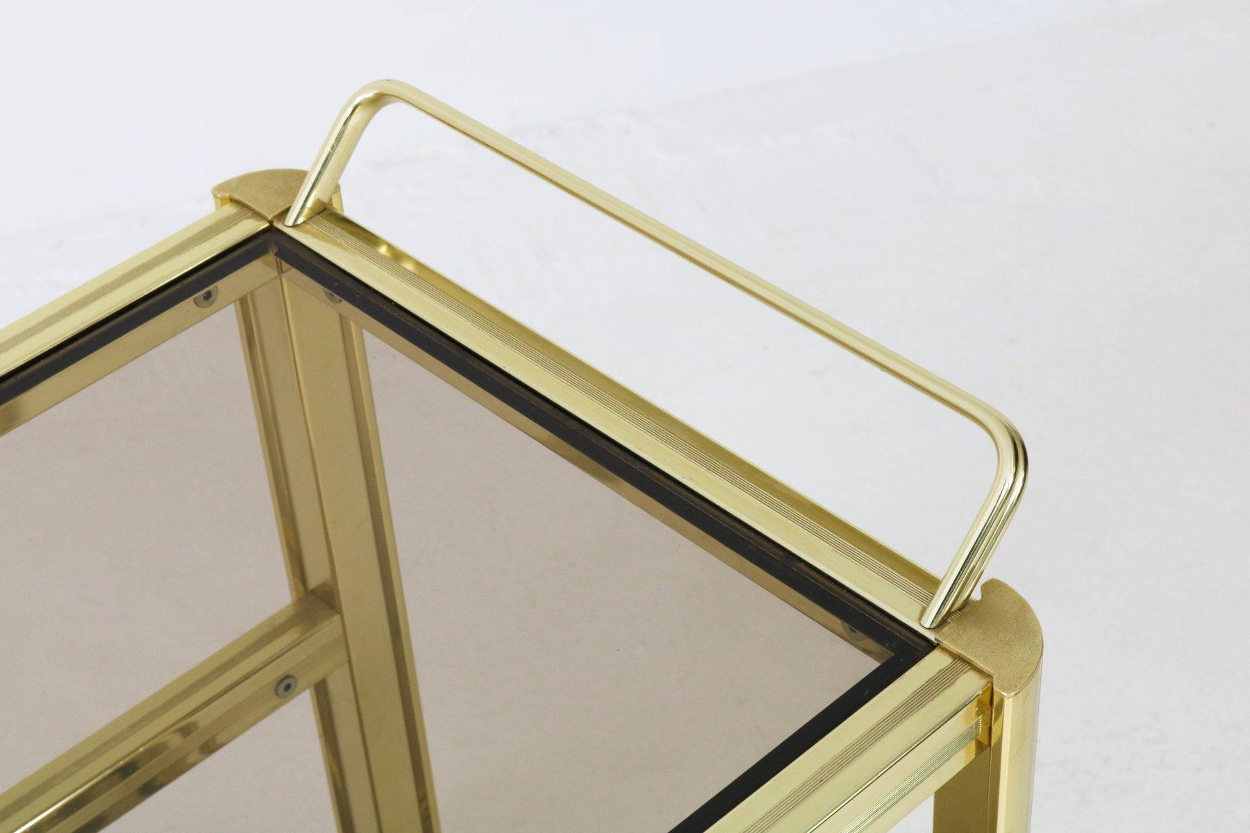 vergoldeter mid century modern metall servierwagen 1970er bei pamono kaufen. Black Bedroom Furniture Sets. Home Design Ideas