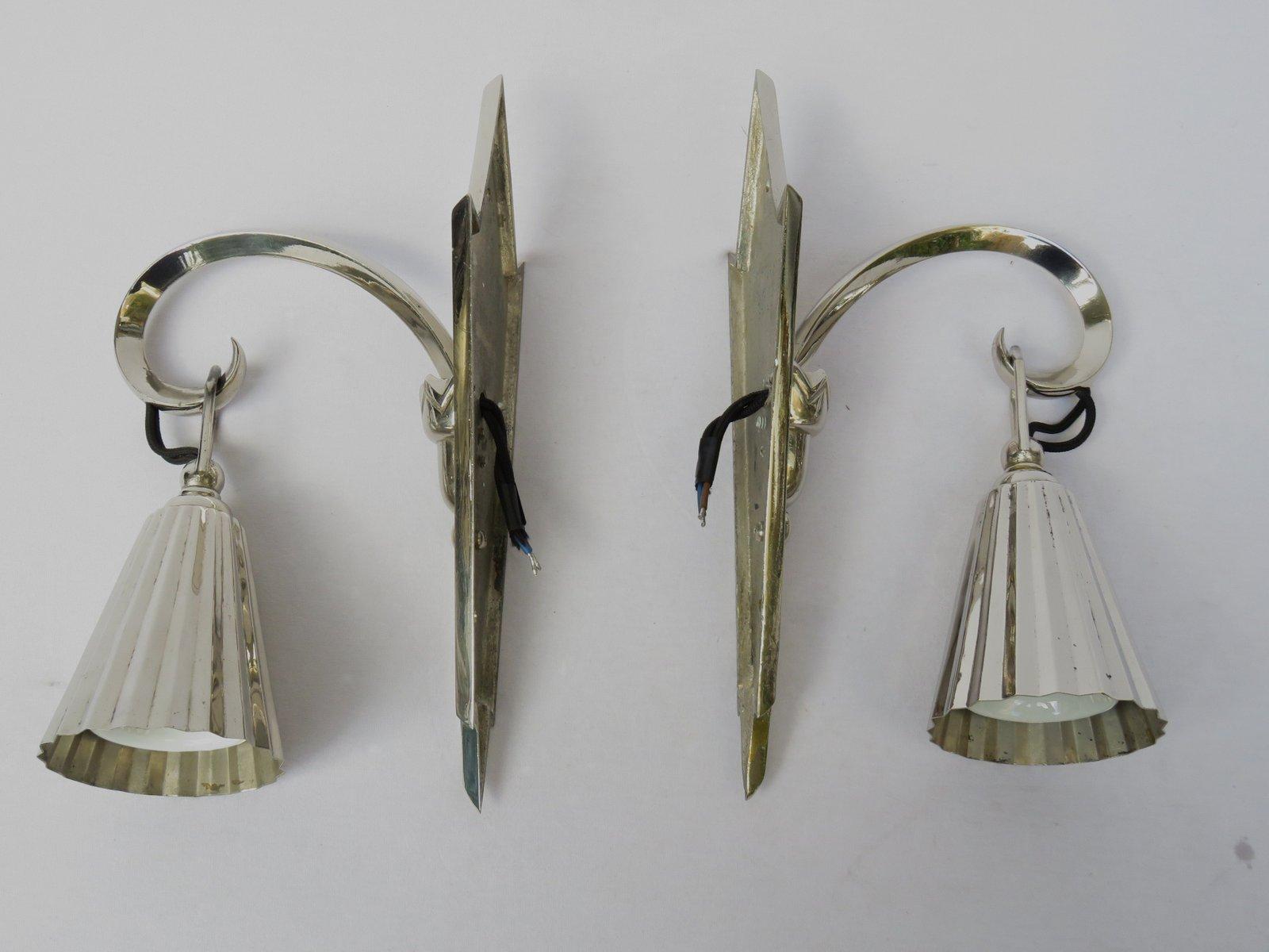 antike verchromte wiener jugendstil wandlampen 2er set bei pamono kaufen. Black Bedroom Furniture Sets. Home Design Ideas