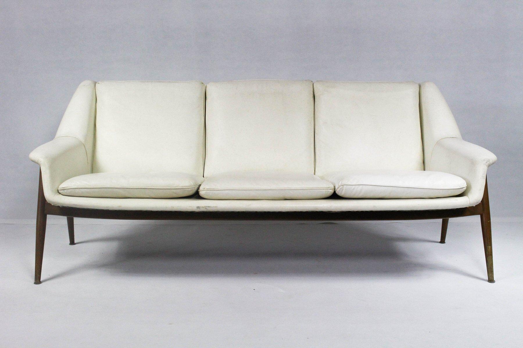 mid century modern leder sofa in wei von knoll bei pamono kaufen. Black Bedroom Furniture Sets. Home Design Ideas