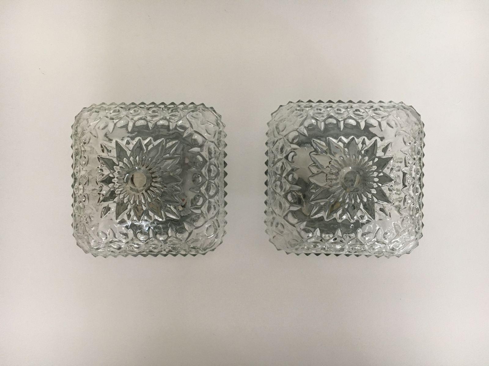 wand oder deckenlampen aus glas 1960er 2er set bei pamono kaufen. Black Bedroom Furniture Sets. Home Design Ideas