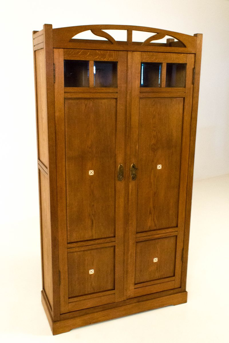 dutch oak art nouveau armoire with inlay 1900s for sale at pamono. Black Bedroom Furniture Sets. Home Design Ideas