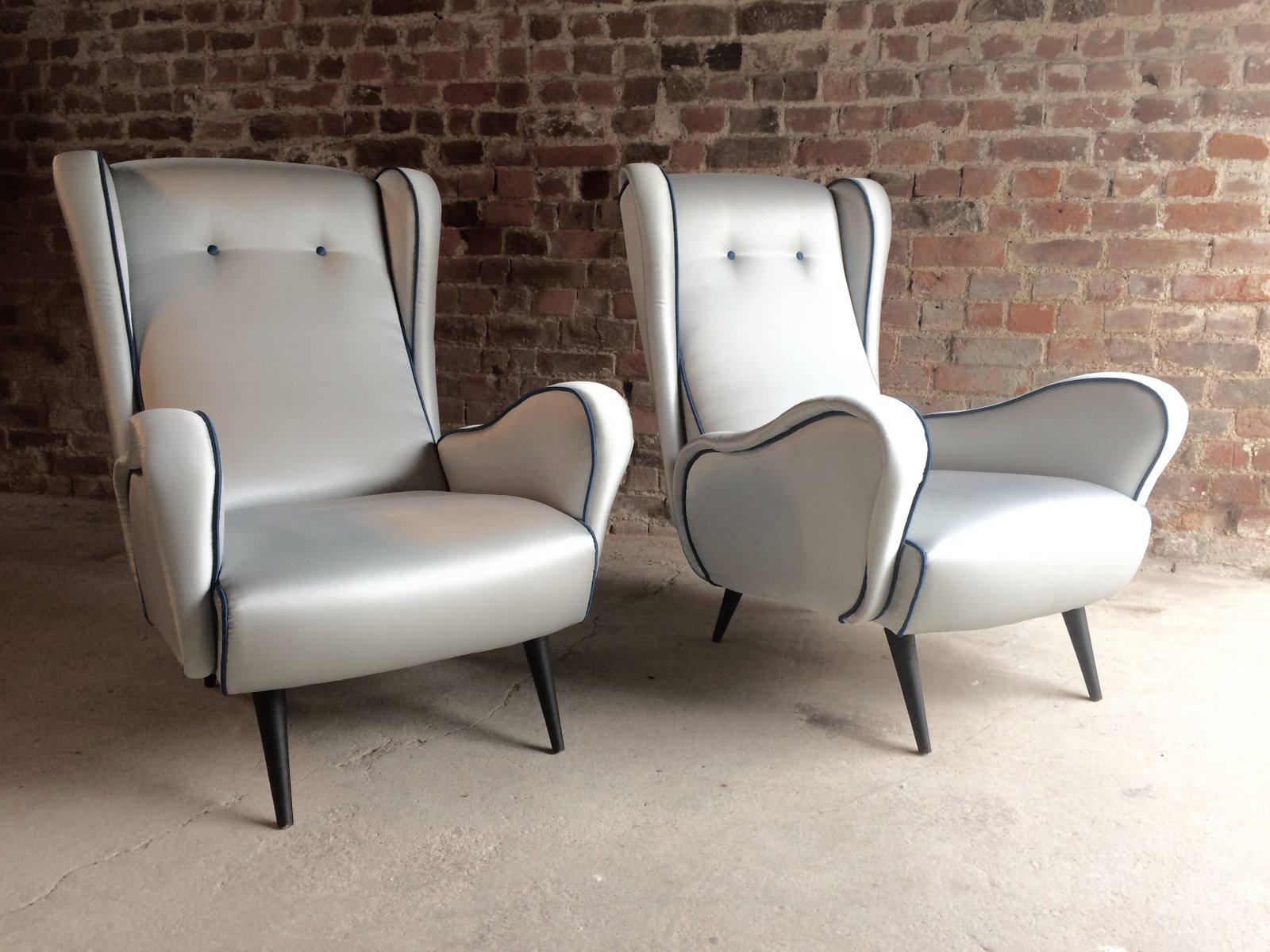italienische mid century sessel 1950er 2er set bei. Black Bedroom Furniture Sets. Home Design Ideas