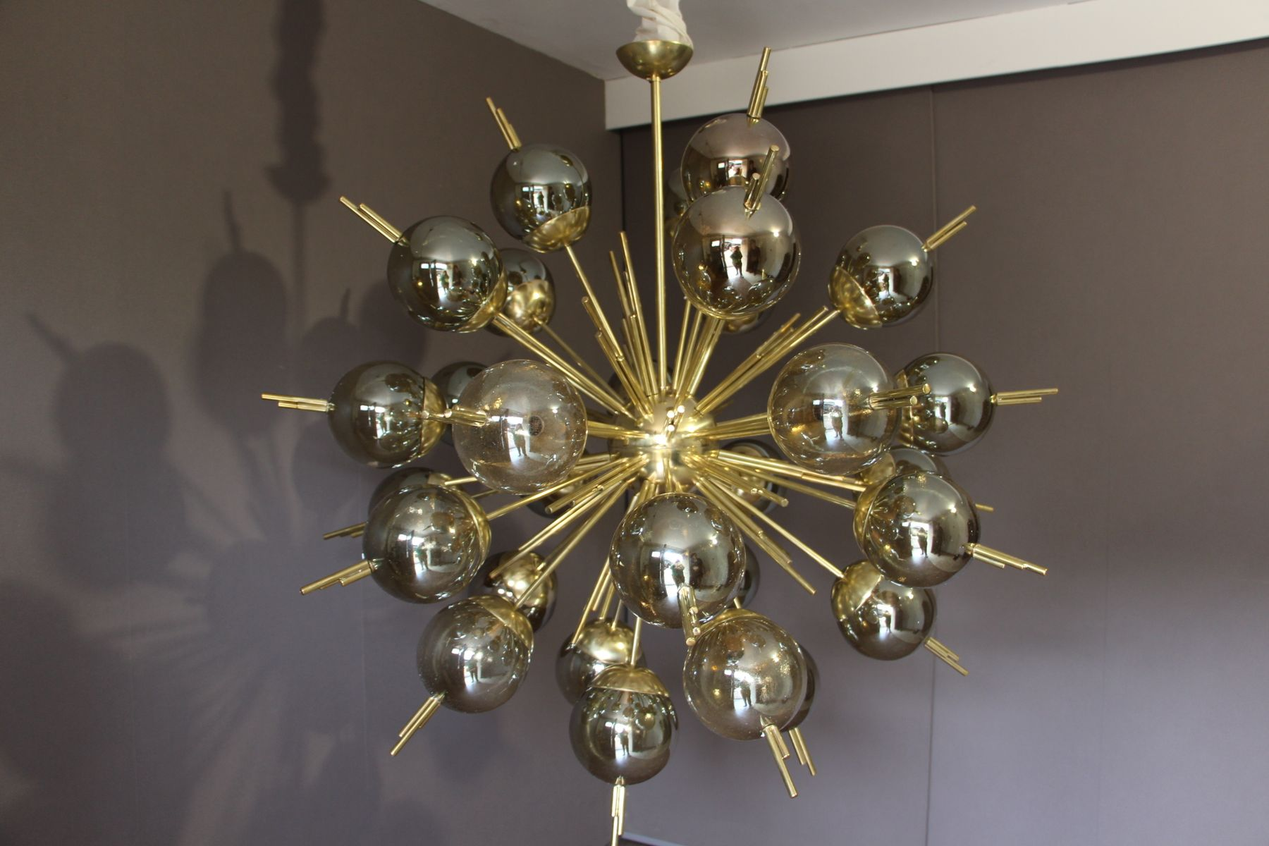 Sputnik Chandelier in Brass with Golden and Mercury Murano Glass