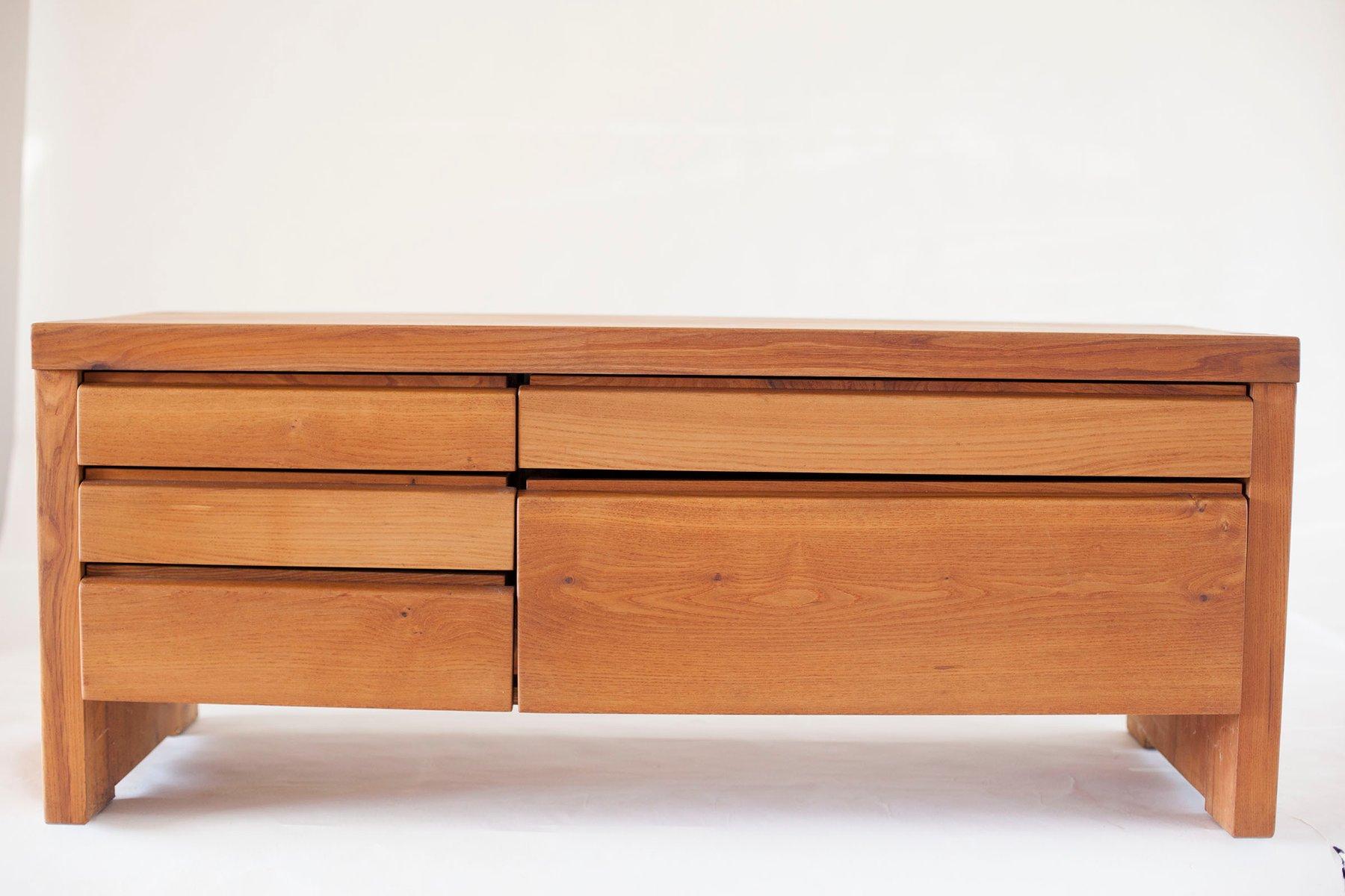 niedrige r14a kommode mit f nf schubladen von pierre chapo 1960er bei pamono kaufen. Black Bedroom Furniture Sets. Home Design Ideas