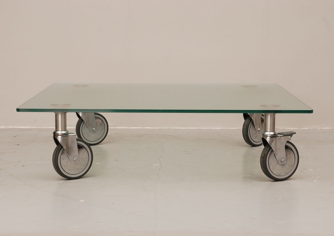 Beau Glass Coffee Table On Wheels