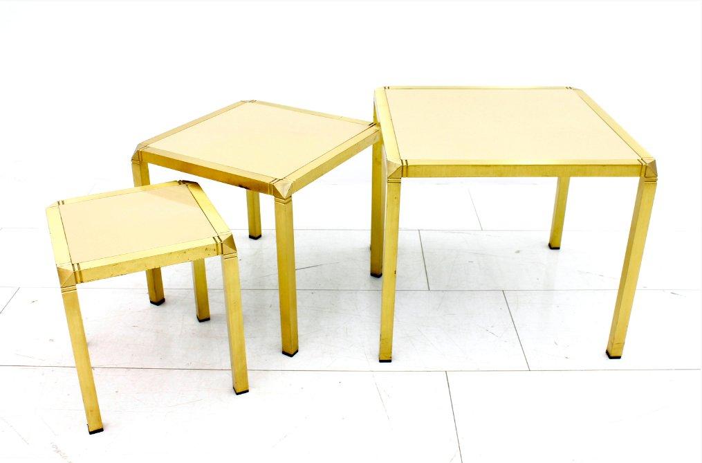 Tavolini a incastro vintage in ottone e vetro francia - Tavolini vetro e ottone ...
