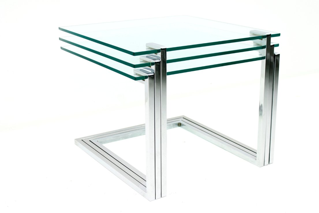Mid Century Glass And Chrome Nesting Tables By Milo Baughman, 1970s, Set Of  3