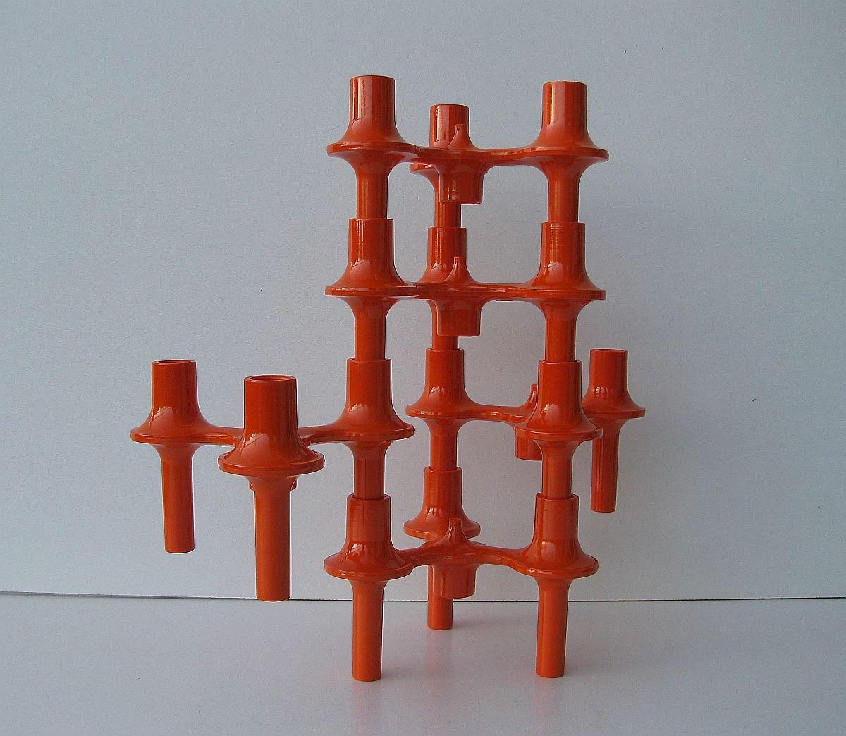 Modulare Kerzenständer in Orange von Fritz Nagel für Sonti, 1970er ...
