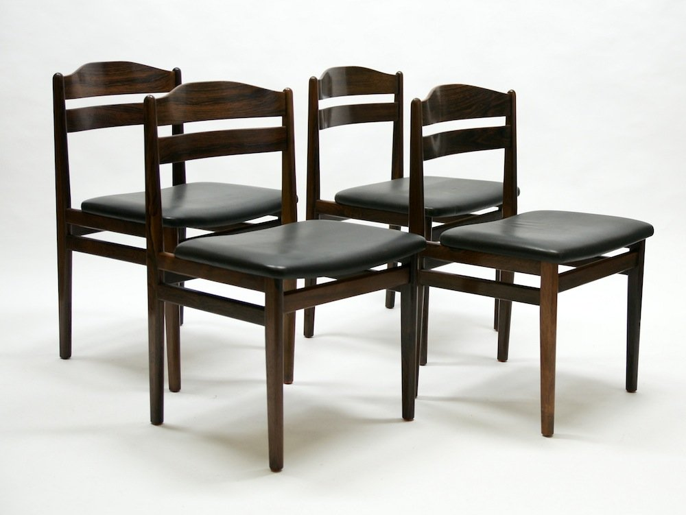 mid century palisander esszimmerst hle 4er set bei pamono kaufen. Black Bedroom Furniture Sets. Home Design Ideas