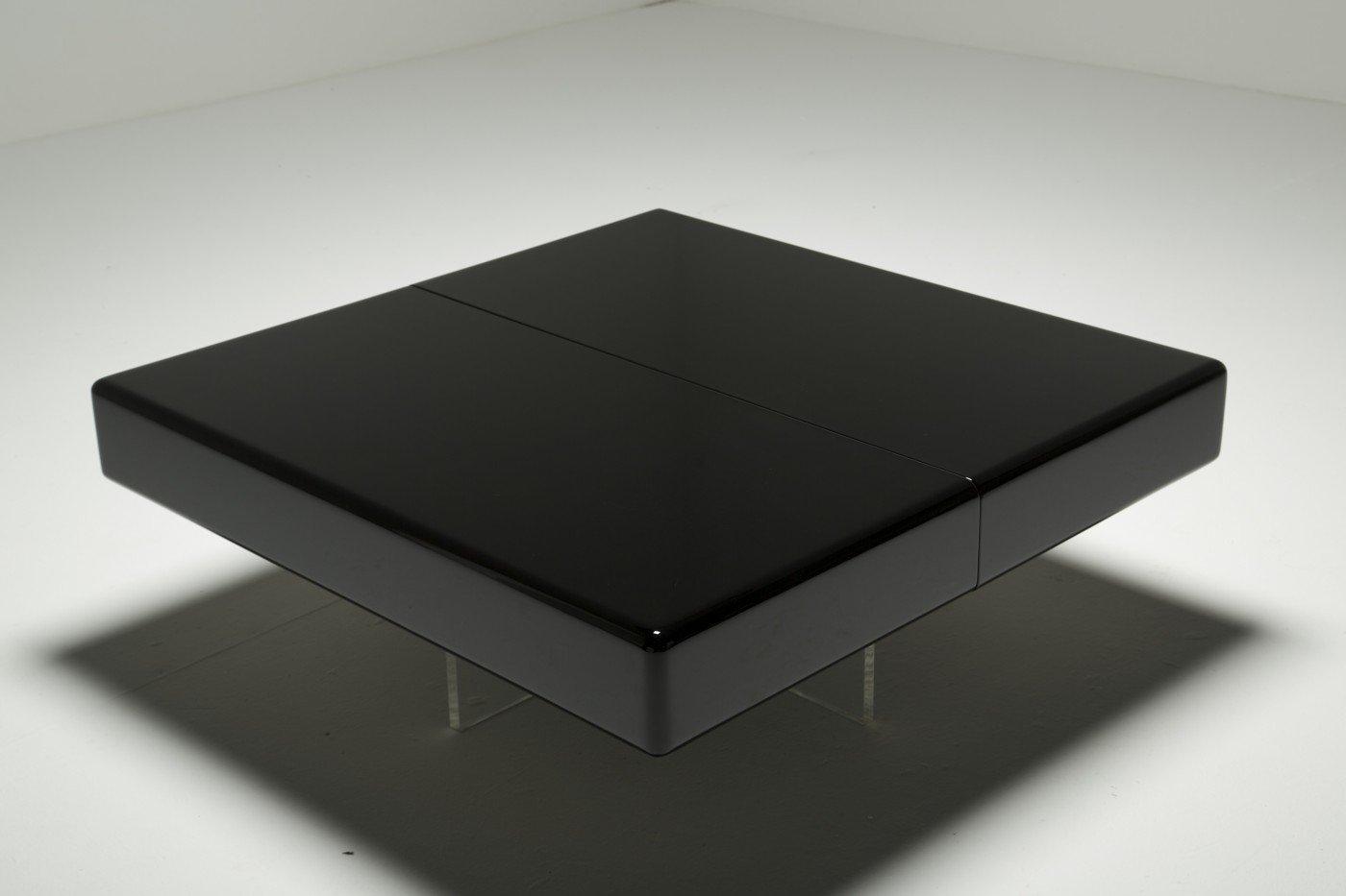 Table basse en noire laqu e avec base perspex en vente sur for Table 6 km turquie