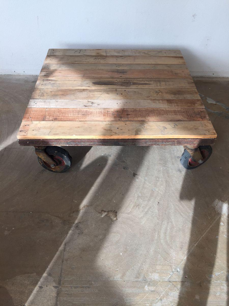 Vintage Industrial Trolley Coffee Table 1970s