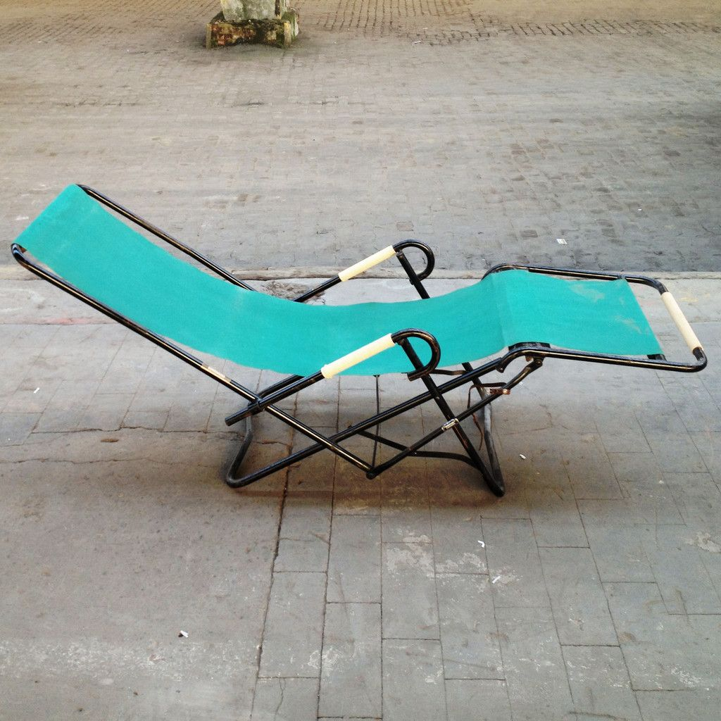 chaise longue pliante par r gleizes 1950s en vente sur pamono. Black Bedroom Furniture Sets. Home Design Ideas