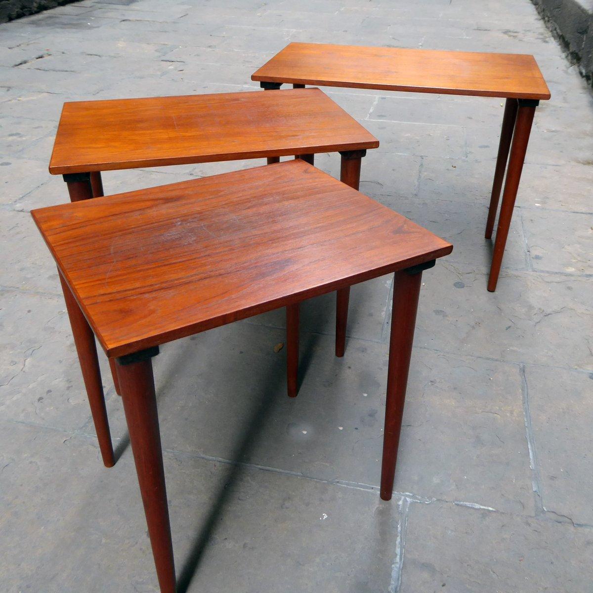 Mid Century Danish Teak Nesting Tables, Set Of 3 For Sale At Pamono