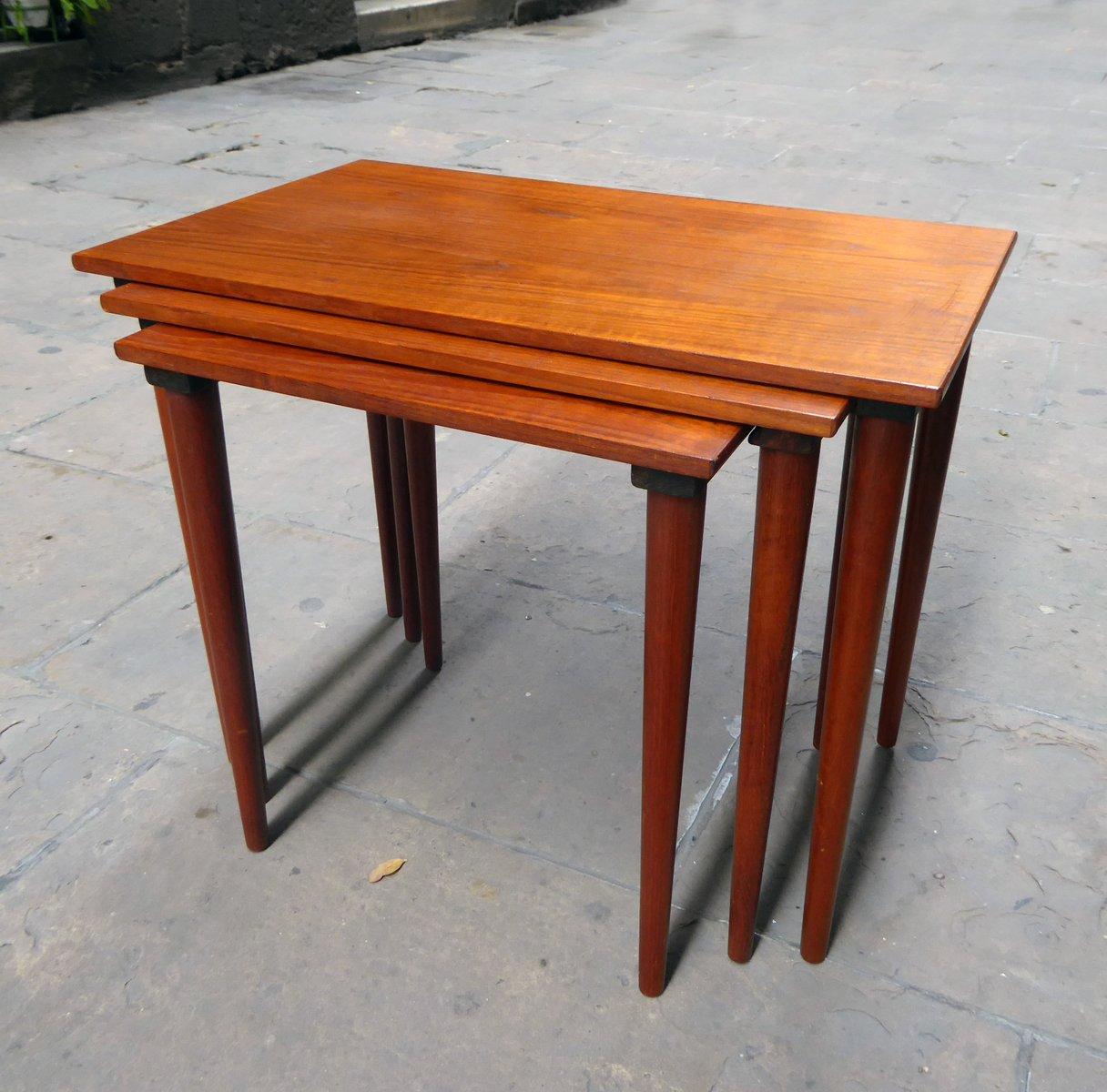 Price per set & Mid-Century Danish Teak Nesting Tables Set of 3 for sale at Pamono