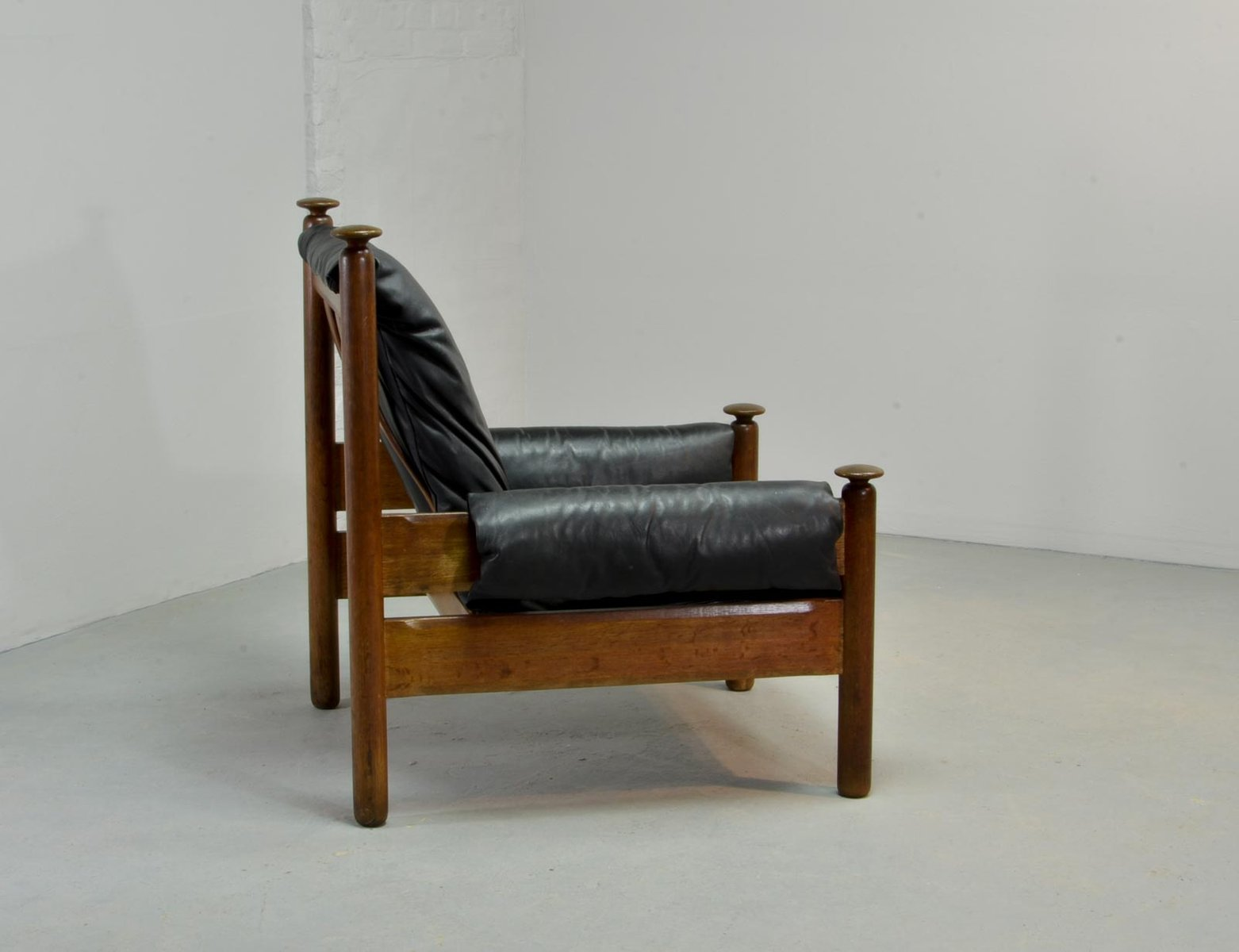 Black Leather Scandinavian Lounge Chair 1960s For Sale At