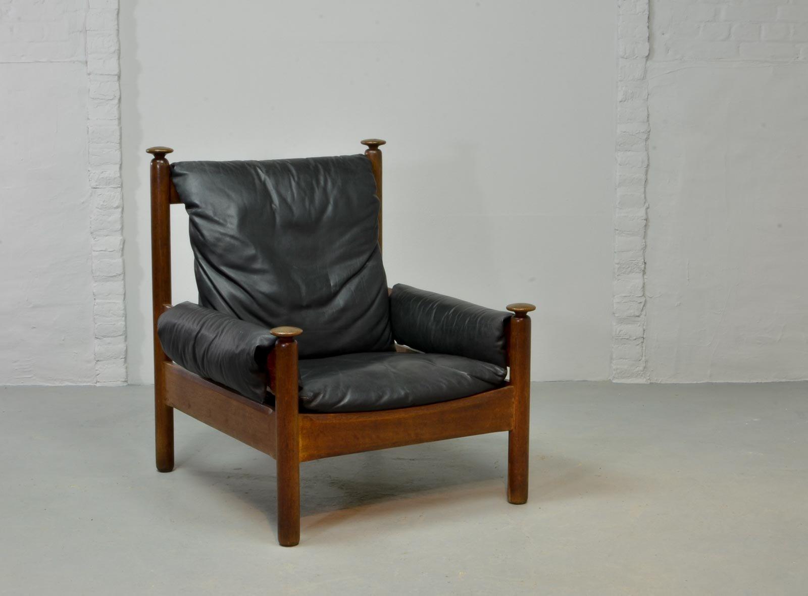 skandinavischer sessel mit schwarzem leder bezug 1960er bei pamono kaufen. Black Bedroom Furniture Sets. Home Design Ideas