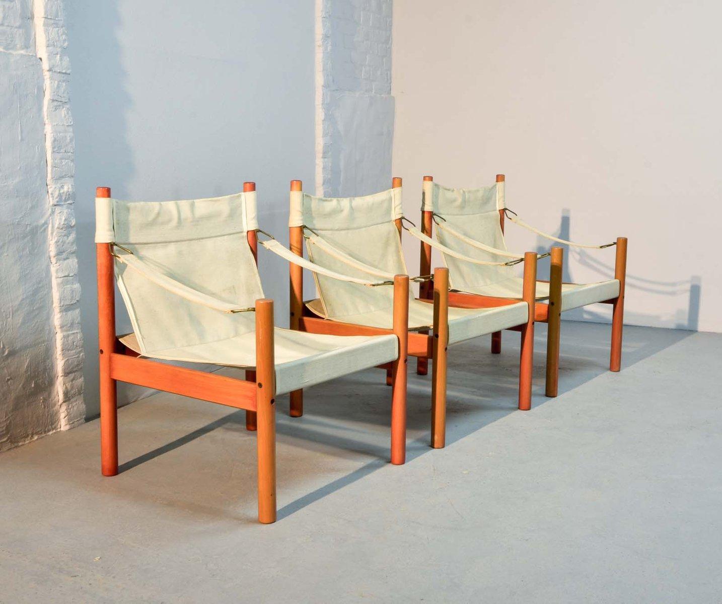 Skandinavische Leinen Safari Stuhl, 1960er bei Pamono kaufen