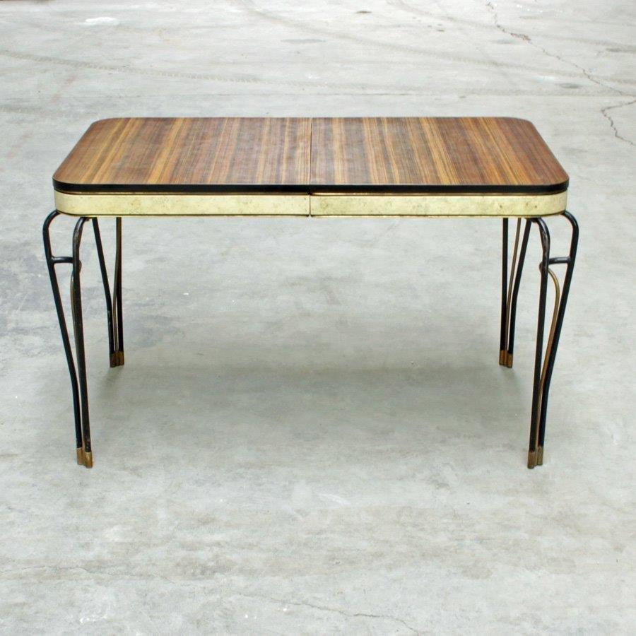 mid century sideboard aus formica vinyl mit schmiedeeisen f en 1960er bei pamono kaufen. Black Bedroom Furniture Sets. Home Design Ideas