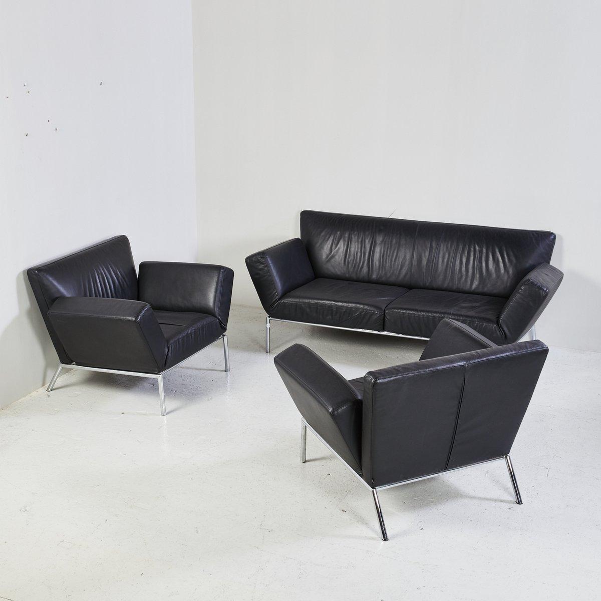 schwarzes leder sofa set von cor bei pamono kaufen. Black Bedroom Furniture Sets. Home Design Ideas