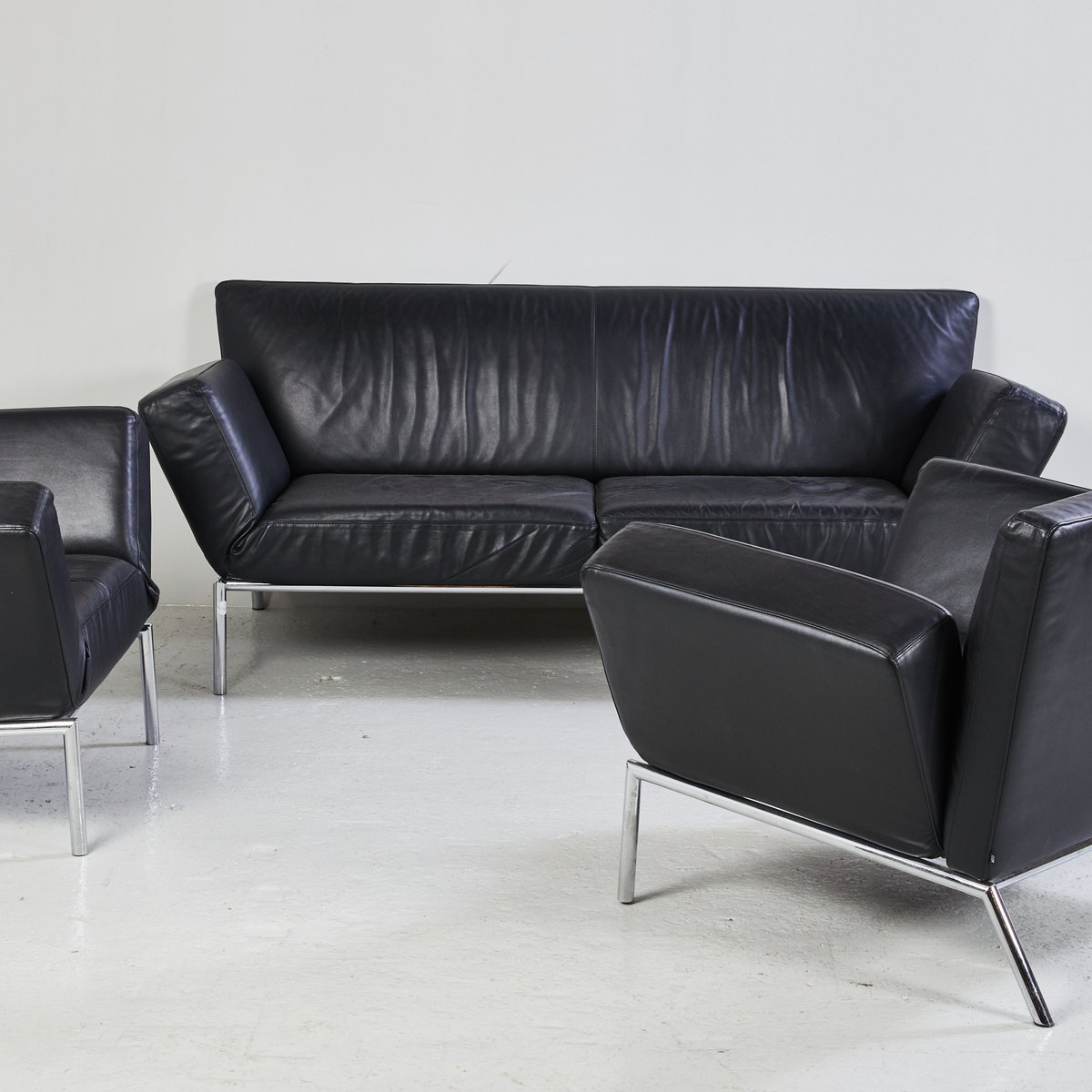 Black Leather Sofa Set From Cor For Sale At Pamono