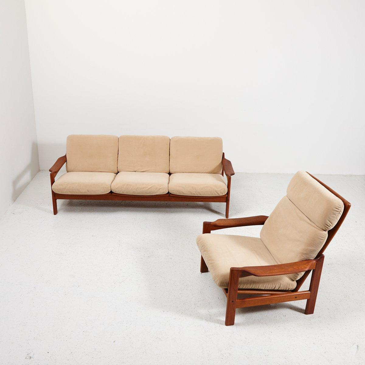 Danish Teak Living Room Set, 1970s for sale at Pamono