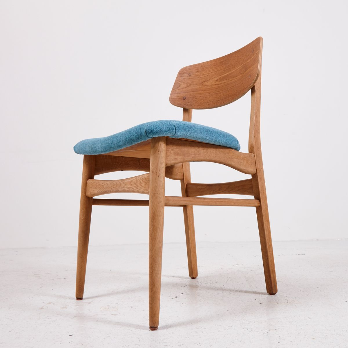 Vintage Teak Dining Chairs With Light Blue Upholstery Set Of 4