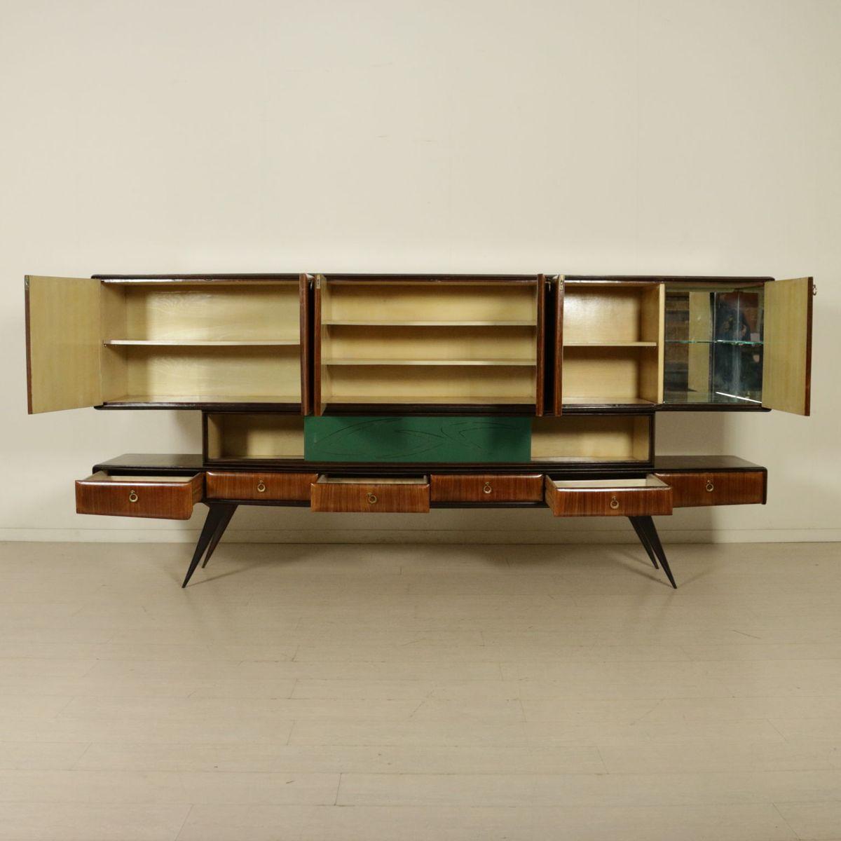 Italian rosewood veneer treated glass sideboard 1950s for Sideboard 3 meter lang
