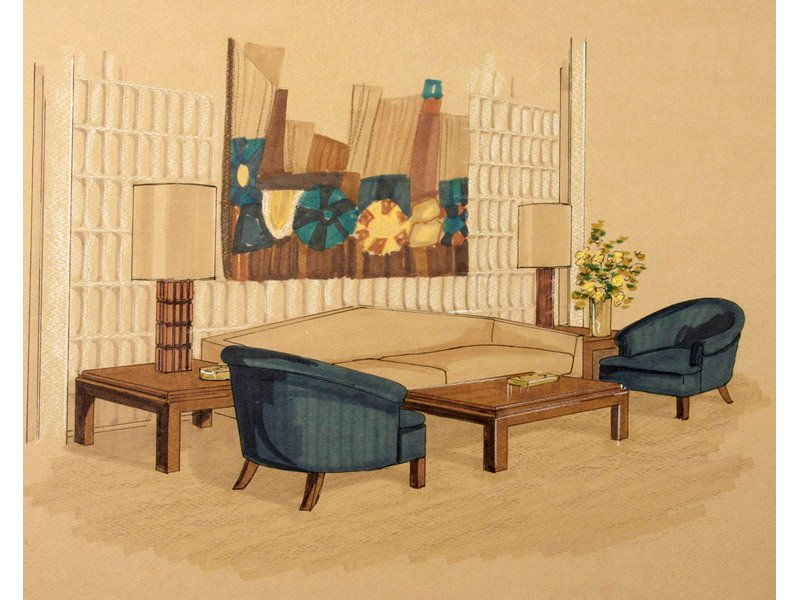 American Mid-Century Interior Drawing, 1950s for sale at Pamono