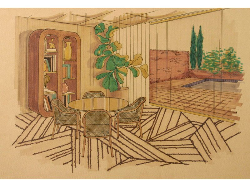 Mid-Century American Interior Drawing, 1950s for sale at Pamono