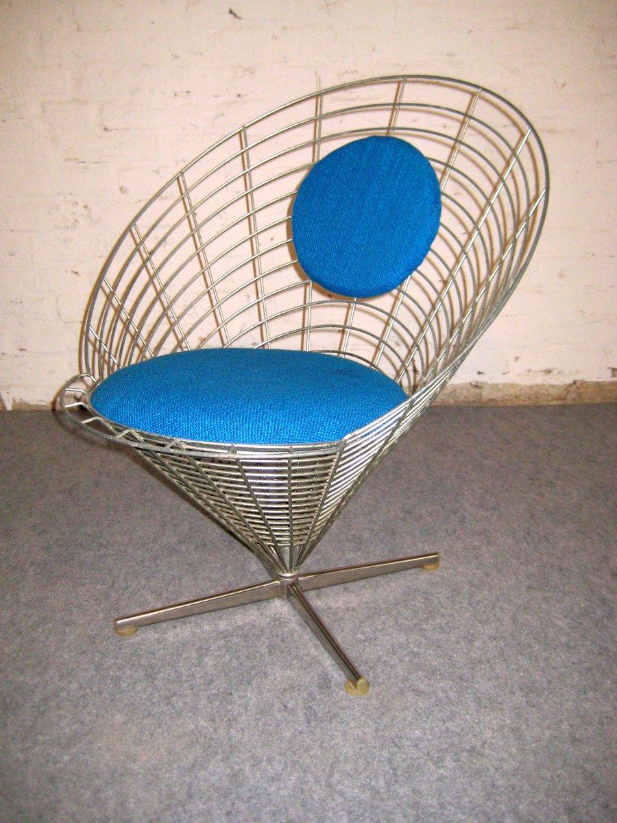 wire cone drehstuhl von verner panton f r plus linje 1959 bei pamono kaufen. Black Bedroom Furniture Sets. Home Design Ideas