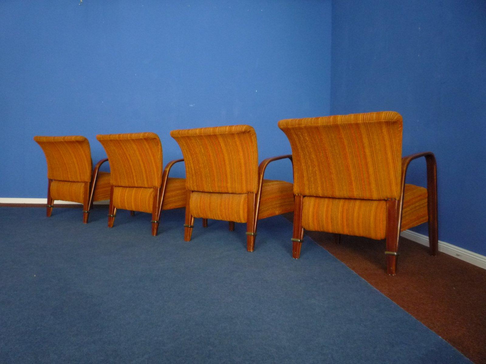fauteuils par hugues steiner pour steiner meubles france 1950s set de 4 en vente sur pamono. Black Bedroom Furniture Sets. Home Design Ideas