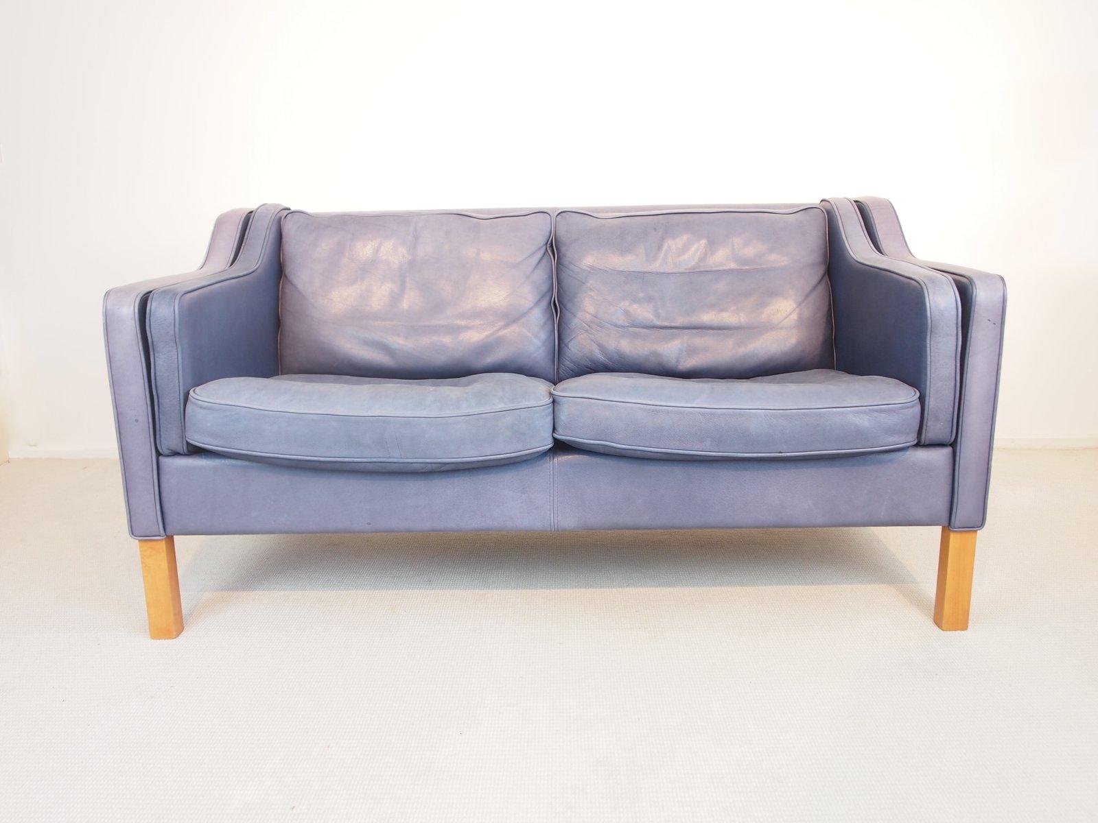 Divano vintage in pelle anilina blu vintage di Georg Thams in ...
